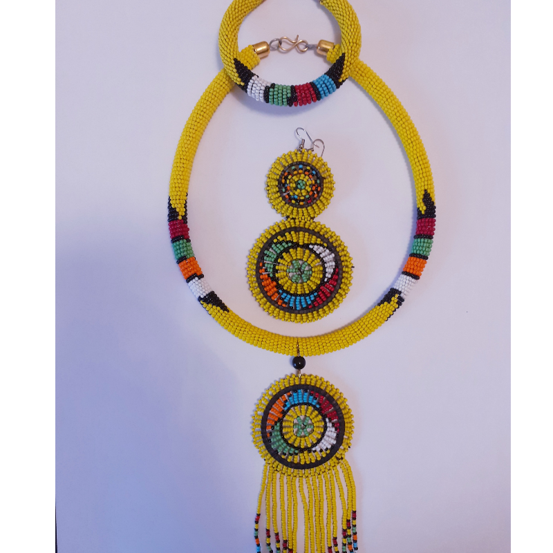 Safari style yellow necklace Long beaded necklace for woman with African beads and handmade lampwork beads.